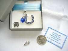 Bride Wedding Horseshoe, Blue Crystal, lucky sixpence Brides Keepsake