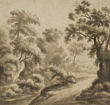 Idyllische Landschaft mit reicher Vegetation, um 1800, Federzchng und Aquarell