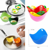 4 Egg Poacher Silicone Poaching Cups Set of 4 Boil Microwave Stove Top Cook Eggs