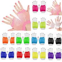 Ladies Fishnet Gloves Short Fingerless Neon Party Dance 70s 80s Womens Gloves