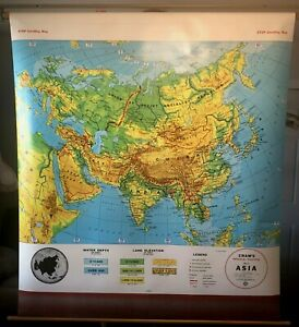 Vintage Cram's Asia Pull Down School Classroom Wall Map, George F. Cram Co. 1985