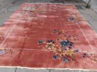 Vintage Shabby Chic Worn Hand Made Art Deco Chinese Pink Wool Carpet 382x300cm