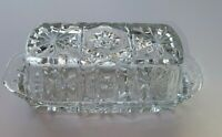 Clear Vintage Cut Glass Crystal Butter Dish With Lid European Star Pattern MINT