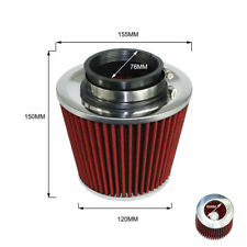 """3"""" 76mm Racing Universal Air Filter High Flow Cone Cold Air Intake Performance"""