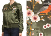 Women's Floral Embroidered Satin Bomber Jacket Olive Green Boho Gypsy Hippie