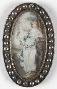 "Angelica Kauffmann-Follower ""Girl with Flower Garland"", Miniature, Late 18th C."