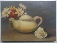 Beau Tableau Classique Nature Morte Théière à la rose Huile sur toile signée