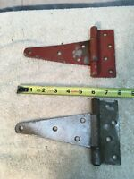 Vintage Pair Metal 8in long Barn Strap hinge