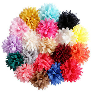 Large 12cm Lace Flower Hair Clips Grips Bobbles Dance Festival Disco Accessories