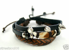 Streetsoul Lion Nail With Spike Black Leather Metal Wrist Band For Men.