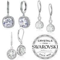 18K White Gold Plated Round CZ Halo Anniversary Wedding Dangle Drop Earrings