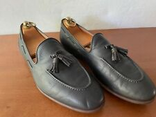 Pre Owned Salvatore Ferragamo Black Leather Tassel Slip On Loafers 9.5EE