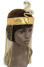 Women Long Beads Band Forehead Fashion Head Snake Cleopatra Costume Gold Sequins