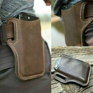 Men's Cell Phone Belt Pack Bag Loop Waist Holster Pouch Case​ Genuine Leather ​