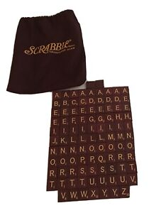 Deluxe Scrabble Game Tiles Red With Bag 2001 Replacement Pieces