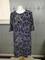Hobbs Purple Floral Scoop Neck 3/4 Bell Sleeve A-Line Dress Size 14