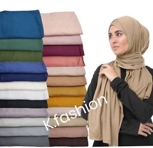 New DUBAI made Premium Stretchy Plain Jersey Maxi Hijab Scarf Shawl Head Wrap