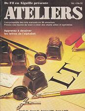 DE FIL EN AIGUILLE  ATELIERS  N° 53 . PAPIER ARGENT  FLEUR EN PLUME  FILS TENDU