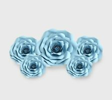Decor In The Box 5 Piece Handmade Paper Flower Set Fully Assembled -Blue