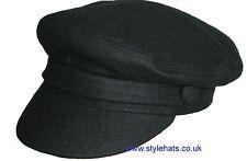 SALE Captain Hat Black Wool Vintage Retro Fiddler 1960s Style Cap Medium 56 cm