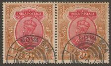 India Used Portugese 1917 KGV 2r Pair Used w NOVA GOA Telegraph Postmark SG187