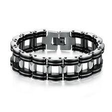 Style Silver Stainless Steel Black Rubber Men Chain Bike Motorcycle Bracelet