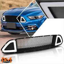For 15-17 Ford Mustang Honeycomb Mesh Front Bumper Grille w/Triangle LED Light