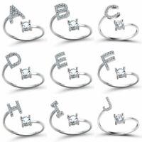 Boho Alphabet Crystal Adjustable Size Ring Women men Jewelry Wedding Party Gifts