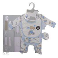 Newborn Baby Boy Blue 5 Piece Gift Layette Set - Baby Clothes NB to 6 months