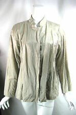 EILEEN FISHER Ivory Button Front Cotton Metallic Jacket Size Large