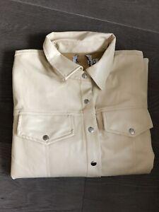 Asos Pvc Shaket Jacket Shirt Top Beige Size 10