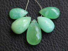 Natural Green Chrysoprase Faceted Pear Briolette Semi Precious Gemstone Beads