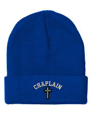 Cristian Chaplain Cross  Embroidery Embroidered Beanie Skully Hat Cap