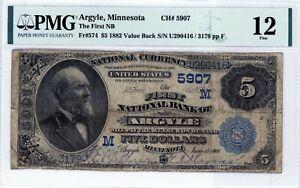 Argyle, Minnesota  First National Bank  $5 1882 VB  CH# 5907  PMG 12