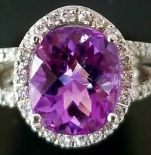 5Ct Oval Cut Amethyst Simulnt Diamond Halo Solitaire Ring White Gold Fnsh Silver
