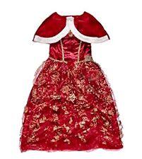 NWT DISNEY BEAUTY AND BEAST WINTER RED PRINCESS BELLE COSTUME DRESS GIRLS XS 3 4