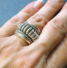 Vintage Navajo Sterling Silver Ribbed Band Ring by Tom Charley -- Size 6.75