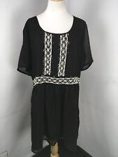 ASOS Curve Black & White Sequin Beaded Pearl Shift Flutter Sleeve Dress Size 18