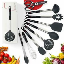 Cooking Utensil Set – 9 Kitchen Utensils - Nonstick Silicone and Stainless Steel