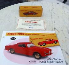ALFA ROMEO 1900 SUPER   DINKY TOYS 24 J   ATLAS 1/43    SEALED BOX + certificate