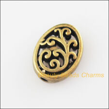 15Pcs Antiqued Bronze Tone Flower Oval Flat Spacer Beads Charms 9.5x12.5mm
