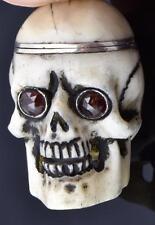 MUSEUM Silver&Niello Automaton Memento Mori SKULL watch&skull pill box chain fob