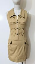 Jane Mong Y2K 2000s Pinafore Dress Sz M (fit 6-8) Khaki Taupe Safari Button Down