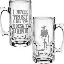 John Wayne Never Trust A Man Glass Stein