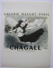 Marc Chagall cartel oeuvres recentes ORIG litografía 1959 maitres de l 'Ecole