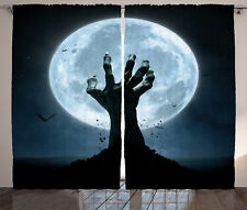Halloween Decor Curtains Zombie Grave Window Drapes 2 Panel Set 108x90 Inches