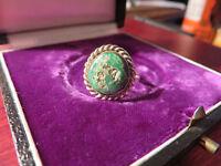 Schöner Silber Ring Grüner Stein Rund Simpel Schlicht Elegant Vintage Retro Top
