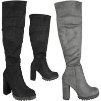 Womens Ladies Mid Calf Faux Suede New High Heel Boots Casual Work Zip Shoes Size