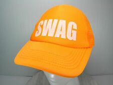 SWAG NEON ORANGE SAFETY GLOW Ballcap Hat Cap ADULT Snapback TRUCKER - Pre Owned