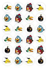 24 Angry Birds Cupcake Fairy Toppers Edible Paper Decorations cake